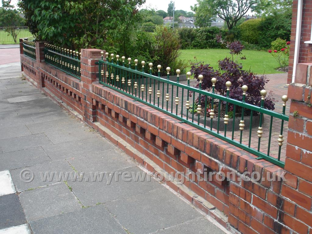 Genial Wall Top Railings With Ball Railheads And Hand Painted Gold Finishing, ...