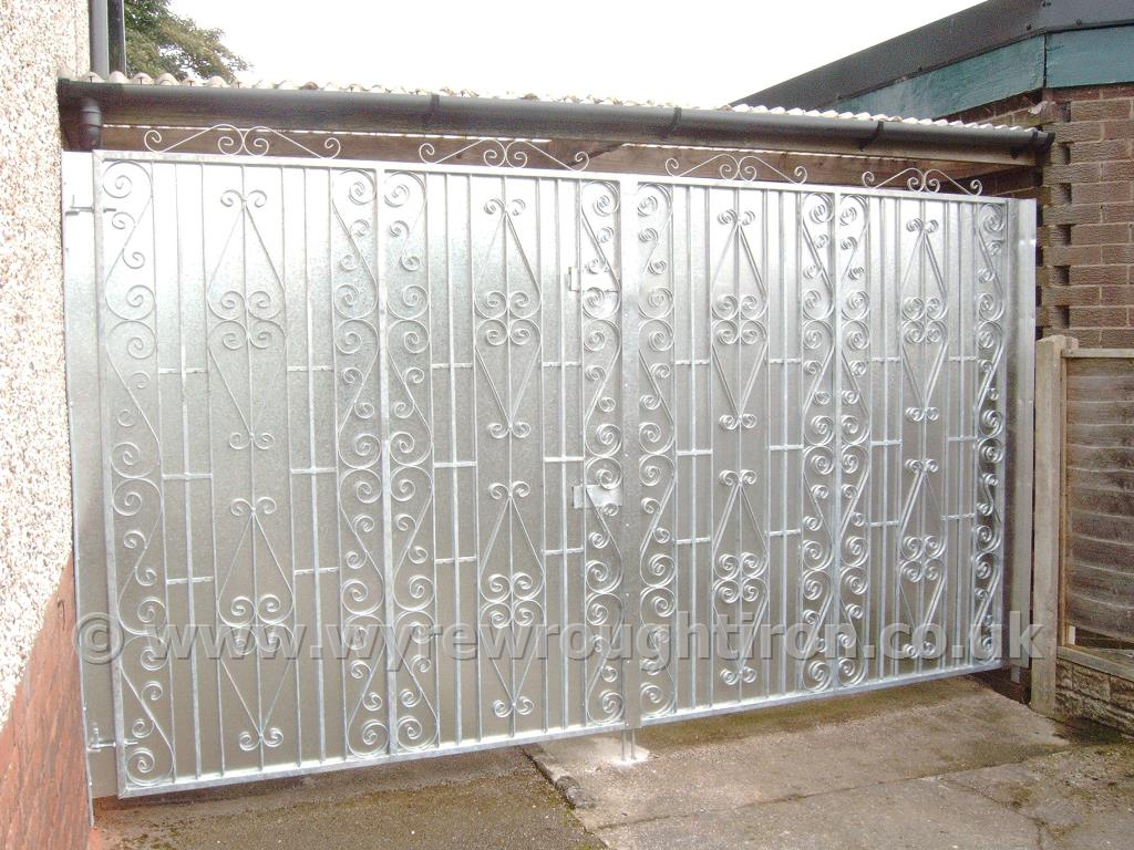 Tall double gates in Thames design with galvanised finish. Sheet backing added for security and privacy for the rear of this Poulton property.